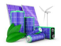 Batteries avec les panneaux solaires Photographie stock libre de droits
