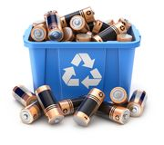 Batteries in blue recycle crate stock illustration