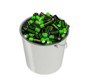 Batteries in a bucket Royalty Free Stock Image