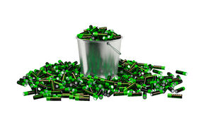Batteries in a bucket Royalty Free Stock Photo
