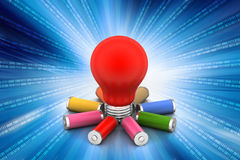 Batteries and bulb Royalty Free Stock Photo