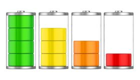 Batteries with Charge Level Isolated. On white background. 3D render Royalty Free Stock Photos