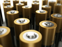 Batteries close up Stock Photos