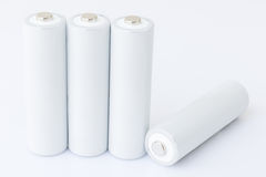 Batteries d'aa au-dessus de blanc Image libre de droits