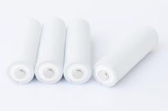 Batteries d'aa au-dessus de blanc Photo libre de droits