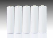 Batteries d'aa au-dessus de blanc Photographie stock libre de droits