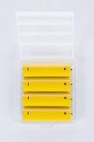 Batteries d'aa dans le plateau en plastique Photographie stock libre de droits