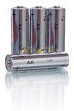 Batteries d'aa sur le blanc Photographie stock libre de droits