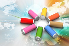 Batteries. 3d Batteries in color background Stock Photography