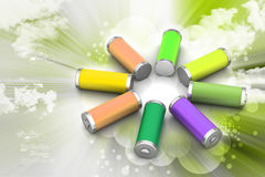 Batteries. 3d Batteries in color background Royalty Free Stock Photo