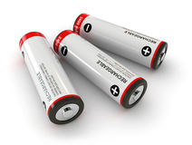 Batteries. 3d render of batteries over white background Stock Photos