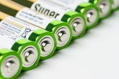 Batteries dans la rangée Images stock