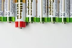 Batteries dans la rangée Images libres de droits