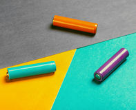 Batteries de couleur différente Photographie stock libre de droits
