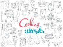 Batteries de cuisine ligne icônes, concept de cuisine illustration stock