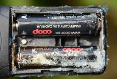Batteries de fin de bande Images libres de droits