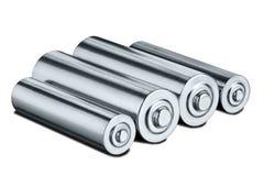 Batteries de taille d'aa sur le fond d'isolement par blanc Concept d'énergie renouvelable et des sources de courant électrique Mo images stock