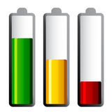 Batteries with different charge levels Royalty Free Stock Photos