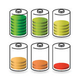 Batteries with different level of charge Stock Images
