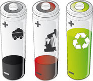 Batteries of energies. Vector illustrations of batteries and energies Royalty Free Stock Photo