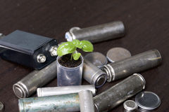 Batteries and green sprout. Recycling and disposal of batteries. Care for ecology Royalty Free Stock Photos