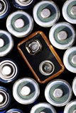 Batteries in a Group for Power. Group of batteries for power supply Royalty Free Stock Images