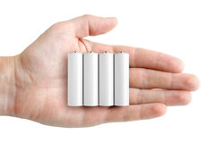 Batteries in hand Stock Photography