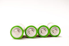 Batteries. 4 Batteries isolated on white stock photography