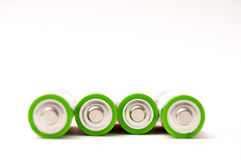 4 batteries. Isolated on white stock image
