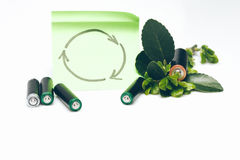 Batteries and leaves with recycling symbol Stock Image