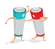 Batteries in a power fight or struggle. Cartoon illustration of two batteries fighting for energy Stock Photo
