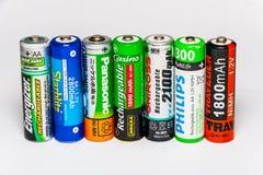 Batteries rechargeables debout d'aa image libre de droits