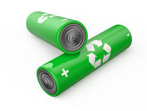 Batteries recycle. Size AA isolated on white background Royalty Free Stock Photos