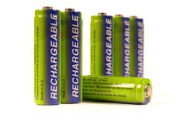 Batteries row. Rechargeable AA batteries in a row stock photography
