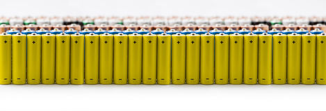 batteries in a row Stock Photo