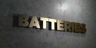 Batteries - signe d'or monté sur le mur de marbre brillant - illustration courante gratuite de redevance rendue par 3D Image libre de droits