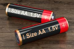 Batteries size AA, 3D. Rendering royalty free illustration