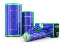 Batteries with solar panels Royalty Free Stock Images