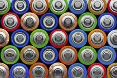 Batteries top view Royalty Free Stock Image