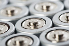 Batteries tops macro shot Stock Images