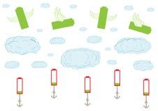 Batteries volant dans le ciel Images libres de droits