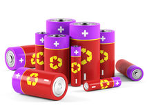 Batteries on white background. 3D rendering Stock Image