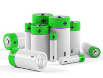 Batteries on white background. 3D rendering Royalty Free Stock Photography