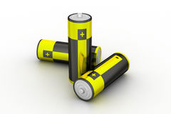 Batteries in white background Royalty Free Stock Photo