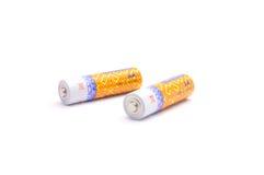 Batteriezelle getrennt auf weißem Hintergrund Stockbild