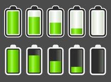 batteriindikatornivå stock illustrationer
