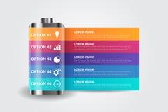 BatteriInfographics mall för affären, utbildning, rengöringsdukdesign, baner, broschyrer, reklamblad vektor illustrationer