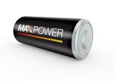 Batterij 3d illustratie met maximum macht  Royalty-vrije Stock Foto's