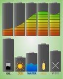 Batterij gestileerde infographics Stock Afbeeldingen
