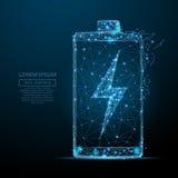 Batterij met bliksem laag polyblauw vector illustratie
